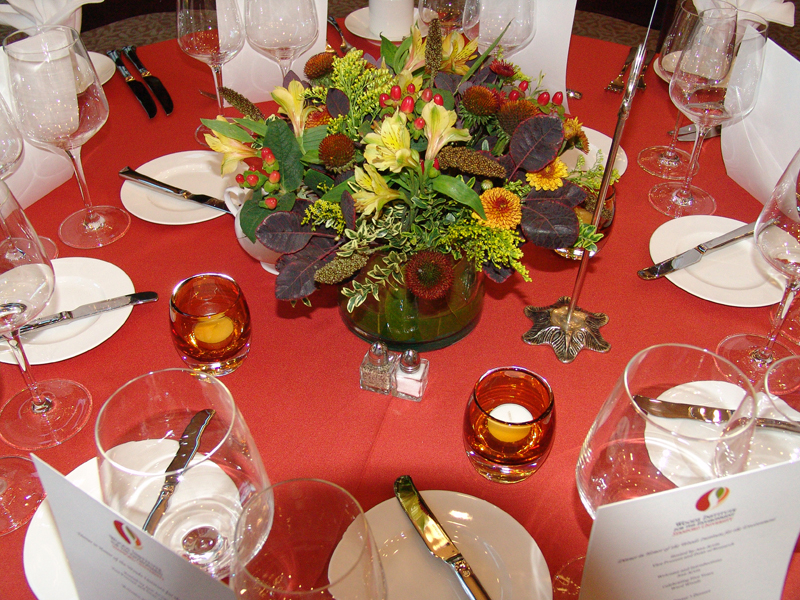 Dining Table with Centerpiece Flowers