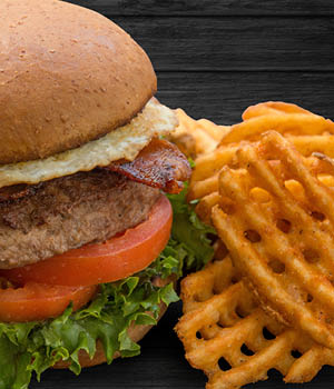 Axe and Palm bacon burger with fries