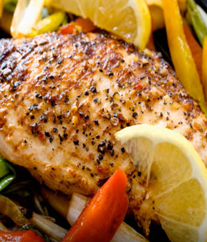 Chicken with lemon and peppers