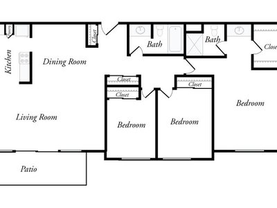 Sample Floor Plan - Three-bedroom - Top View