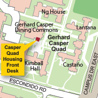 Campus Map Highlighting Manzanita Park Housing Front Desk