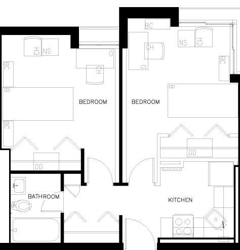 Two Bedroom Efficiency Apartment Floorplan