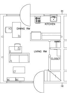1 Bedroom Two Story - First Floor Floorplan