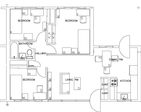 3 Bedroom Two Story - First Floor Floorplan