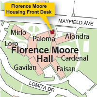 Campus Map Highlighting Florence Moore HousingFront Desk