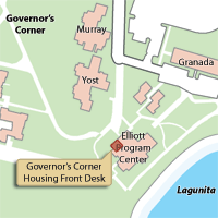 Campus Map Highlighting Governor's Corner Housing Front Desk