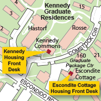 Campus Map Highlighting Escondite Cottage Housing Front Desk
