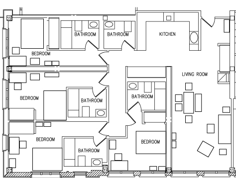 4   Bedroom Top View Floorplan