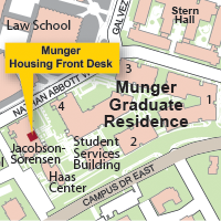 Campus Map Highlighting Munger Graduate Residence Housing Front Desk