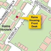 Campus Map Highlighting Rains Housing Front Desk