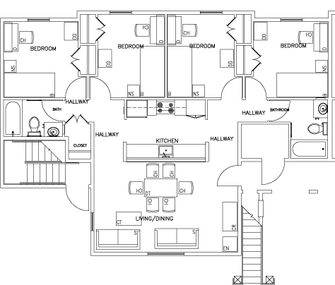 Floor Plan of Four Bedroom Unit