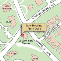 Campus Map Highlighting The Row housing Front Desk