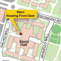 Campus Map Highlighting Stern Hall Housing Front Desk