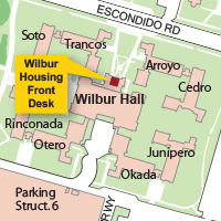 Campus Map Highlighting Wilbur Housing Front Desk