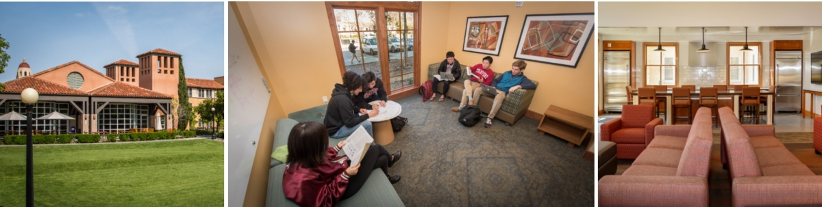 Gerhard Caspr Quad, Stanford students in a lobby, Interior of Ng Residence Hall