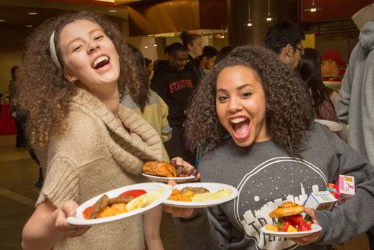 Students enjoying Midnight Breakfast