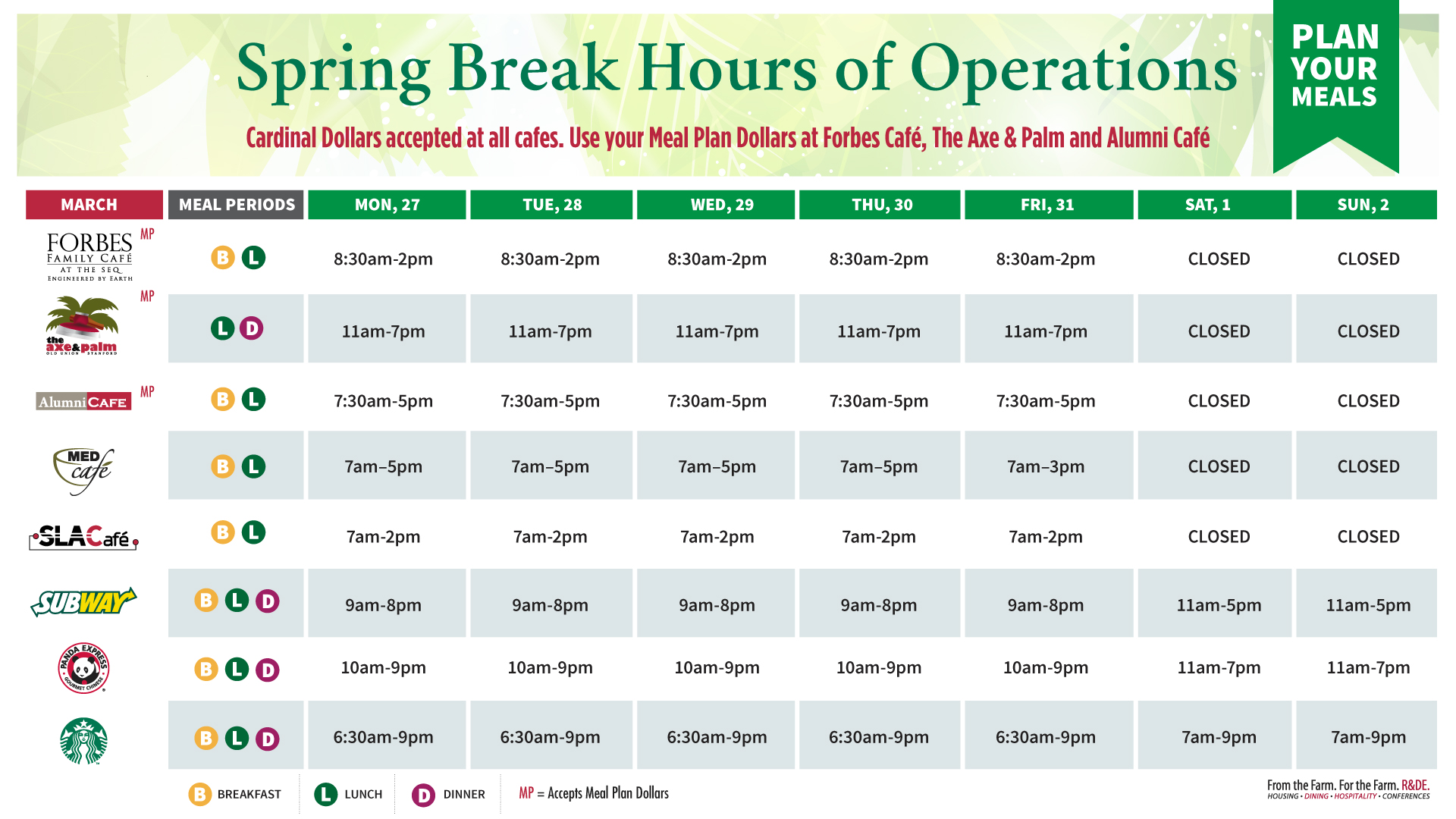 graphic for spring break hours
