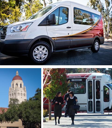 Stanford Guest House Van, Margaret Van Service, and Hoover Tower.