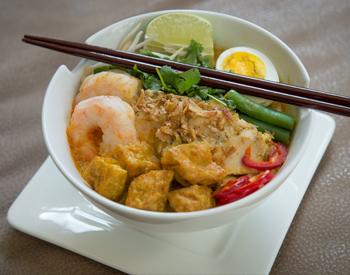 Ramen bowl special with shrimp.