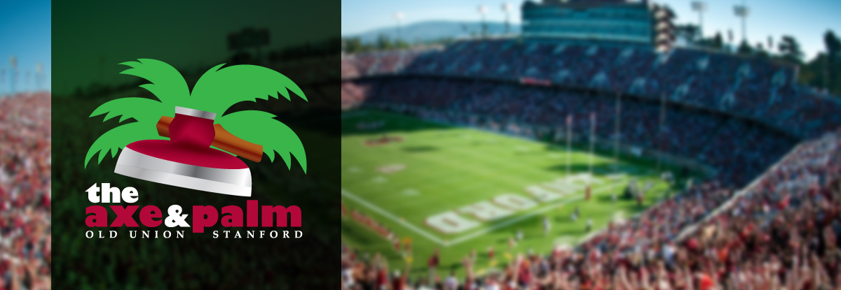 axe and palm logo in front of the Stanford Football Stadium