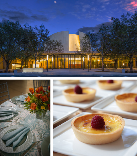 Exterior of Bing Concert Hall, dinner plate setup, and a raspberry tart.