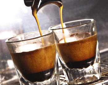 Piping hot espresso