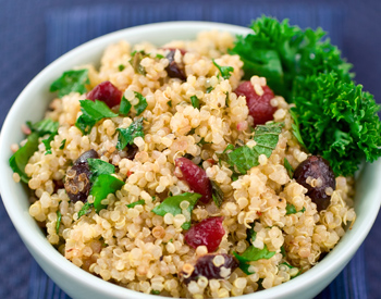 Healthy options available at the Med Cafe like kale and couscous.