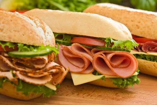 Turkey, ham and salami sub sandwiches.