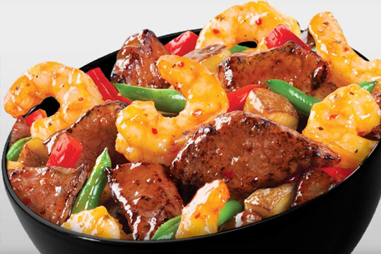 Shrimp and beef veggie bowl at Panda Express