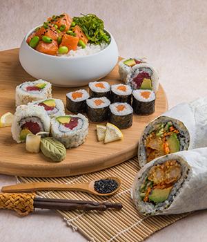 sushi platter from Kikka sushi in Tresidder Union