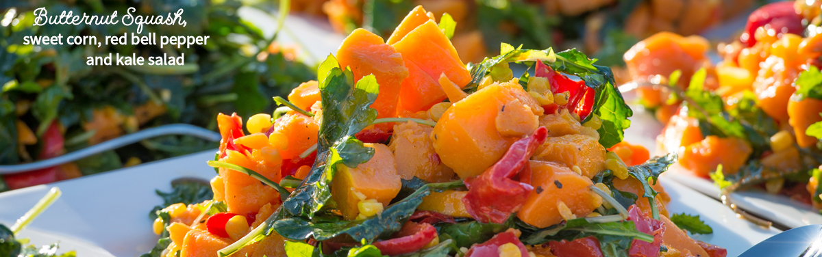 Butternut Squash, sweet corn, red bell pepper and kale salad