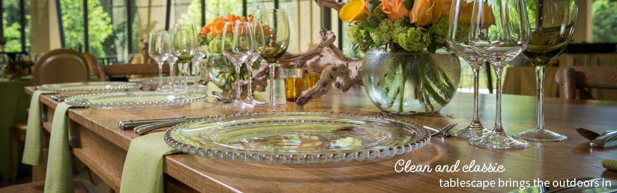 Clean and classic tablescape brings the outdoors in