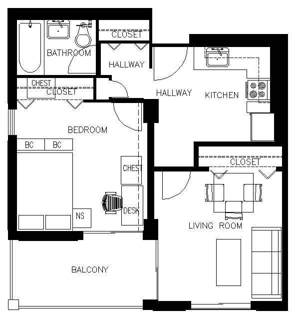 One-Bedroom, One-Bath Compact McFarland Mid-rise Apartment Floor Plan