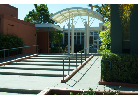 Stern Hall entry with ramp next to stairs
