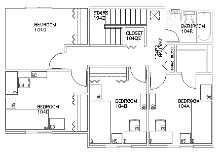 4 Bedroom Second Floor Top View Floorplan