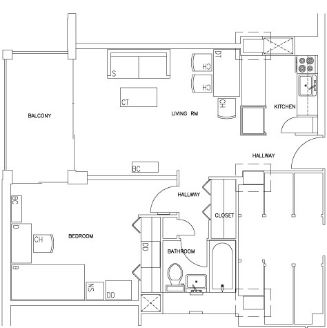 Two-Bedroom Efficiency Apartment Floorplan