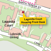 Campus Map Highlighting Lagunita Court Housing Front Desk
