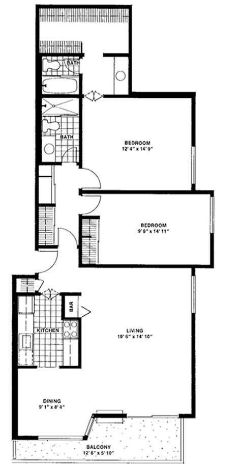 Two-bedroom, two-bathroom Double - Top View