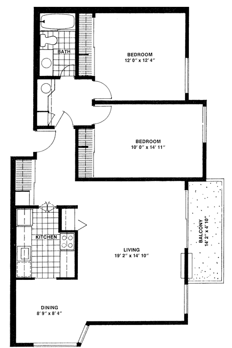 Two-bedroom, one-bathroom Double - Top View