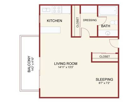 Oak Creek Studio Floorplan - Top View