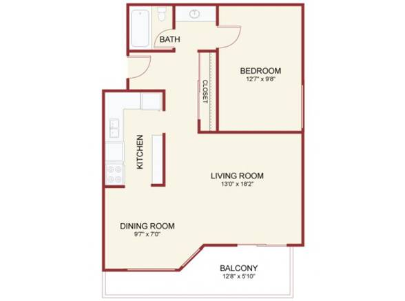 Oak Creek One Bedroom - Top View