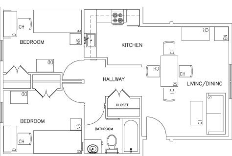 Floor Plan of Two Bedroom Unit