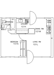 1 Bedroom One Story Floorplan