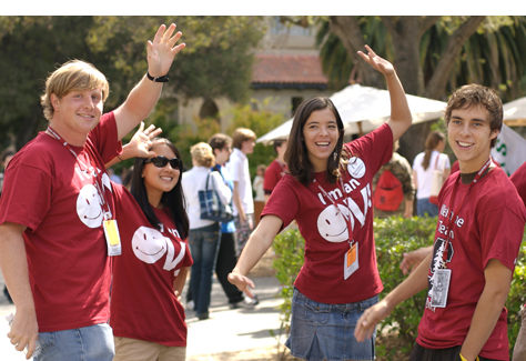 Group of students welcoming new students