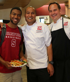 Student with Stanford Dining Hall Chefs