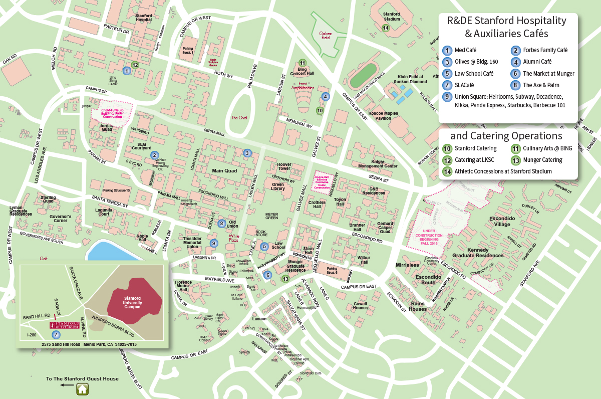 R&DE Stanford Hospitality & Auxiliaries map