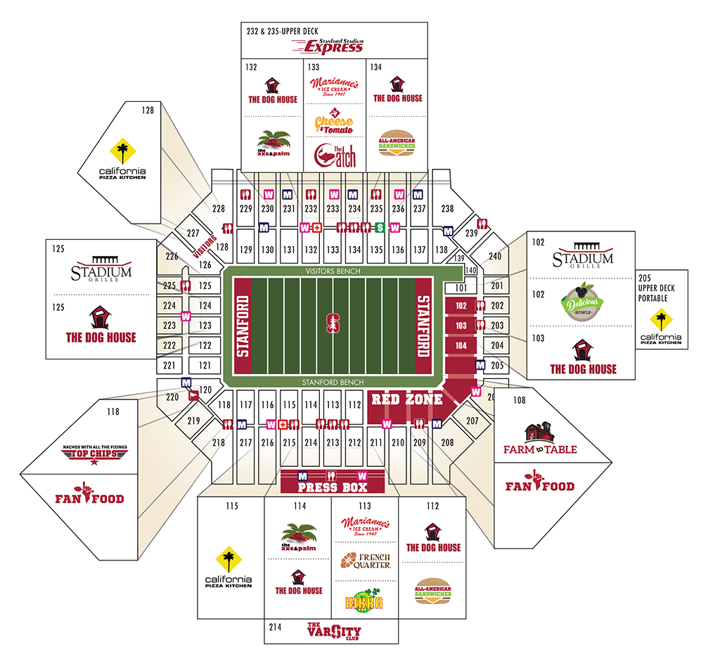 Map of concessions at the stadium