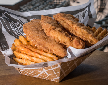 chicken tenders and waffle fries
