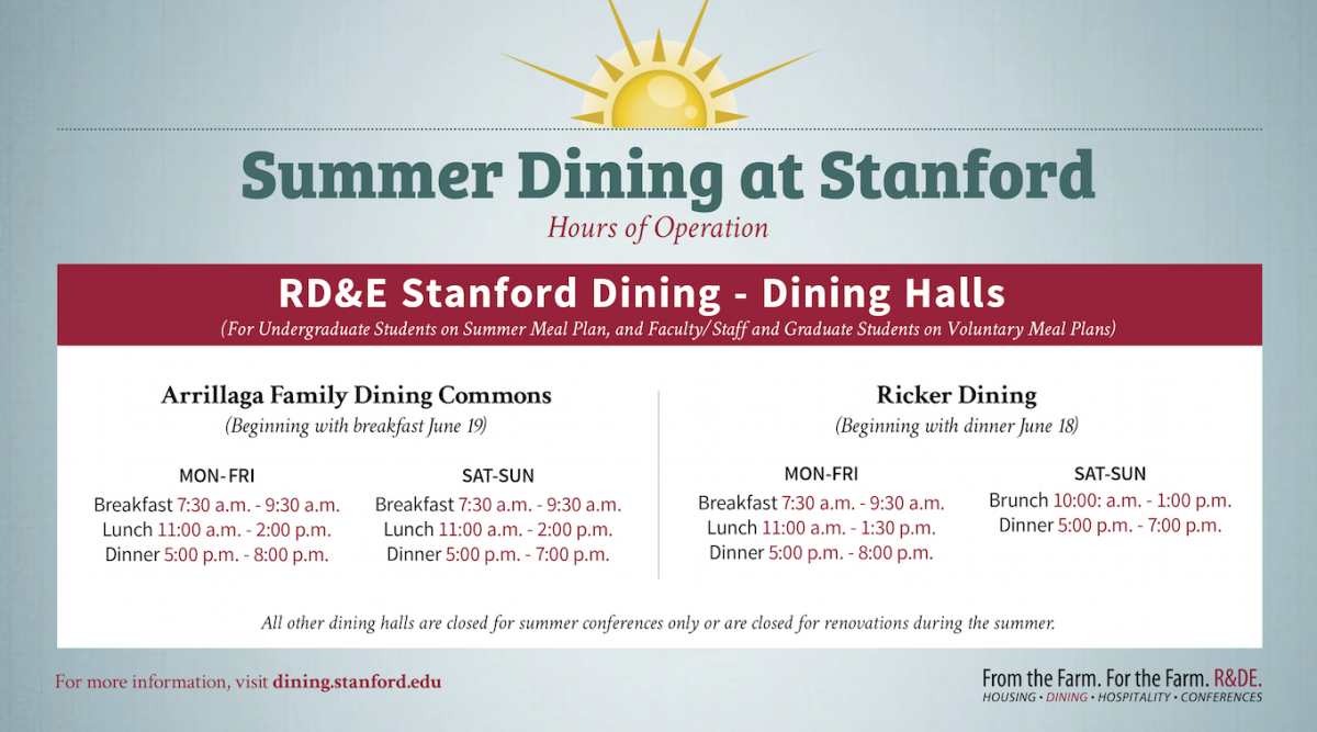 Summer dining hours