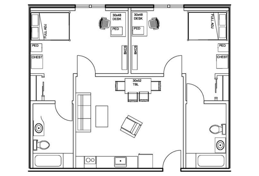 Kennedy 2 Bedroom / 2 Bathroom Apartment Floor Plan